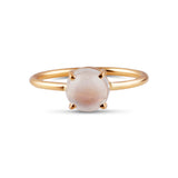 Rainbow Moonstone Rd. Ring in 18K Yellow Gold