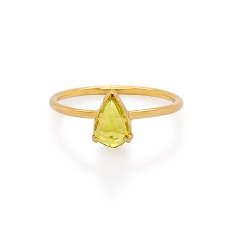 Yellow Tourmaline Pear Shape Ring in 18K Yellow Gold