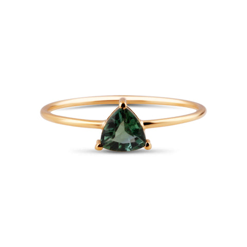 Green Tourmaline Trillion Ring in 18K Yellow Gold