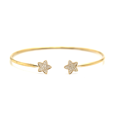 Diamond Bangle With Flower In 18K YG