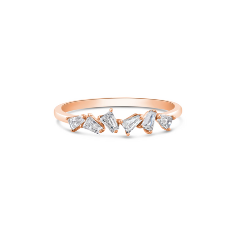 Diamond Baguette Ring in 18k Rose Gold