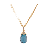 London Blue Topaz & Diamond Interchangeable Baroque Pendant In 18k Yellow Gold