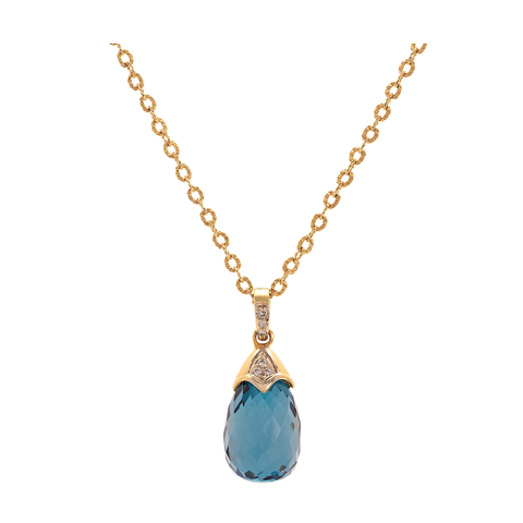 Gemstone & Diamond Interchangeable Baroque Pendant In 18k Yellow Gold