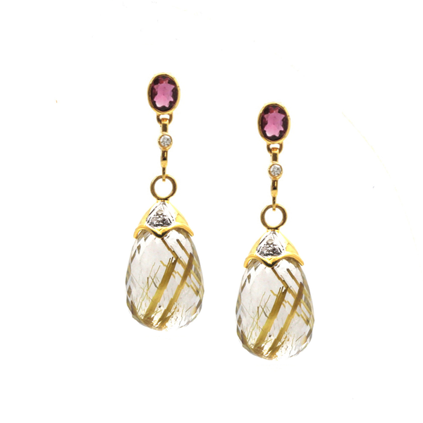 Pink Tourmaline Interchangeable Top With Golden Rutile Baroque In 18K Yellow Gold