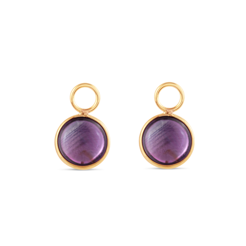 Amethyst Simple Round Double Sided Cabochon Interchangeable Earring In 18K Yellow Gold