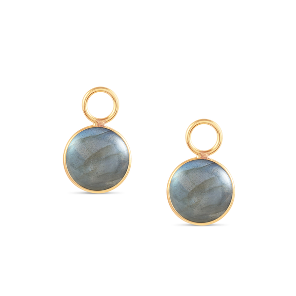 Labradorite Simple Round Double Sided Cabochon Interchangeable Earring In 18K Yellow Gold