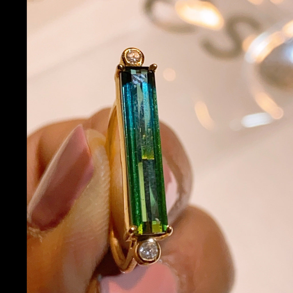 Blue Green Bicolor Tourmaline and Diamond Ring in 18K Yellow Gold