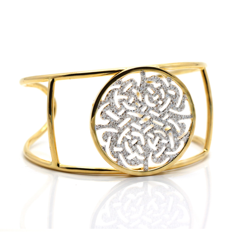 18k Yellow Gold Signature Logo Cuff with Diamond