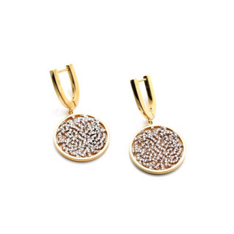 Signature Logo Diamond Earrings in 18k Gold