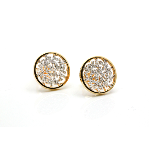 Signature Logo Earring in 15mm with Diamond in 18k Yellow Gold