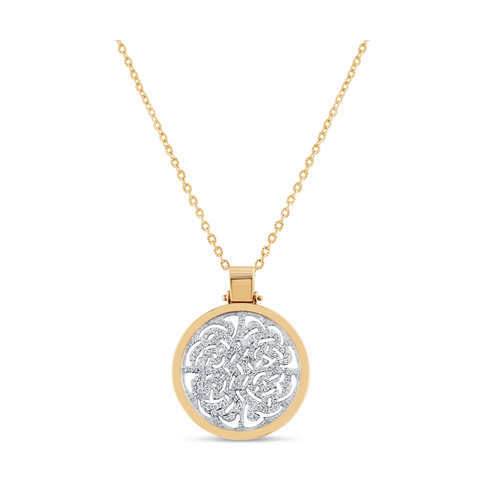Signature Logo Diamond  Pendant in 18k Yellow Gold