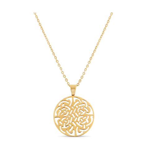 Logo Pendant In 18k Yellow Gold - Shiny Finsih
