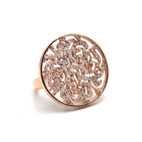 Diamond Logo Ring In 18K Rose Gold
