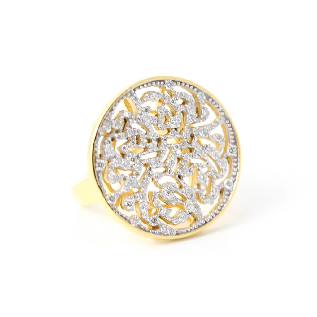 Diamond Logo Ring In 18K Gold