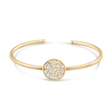 Signature Logo Bangle with Diamonds in 18k Gold