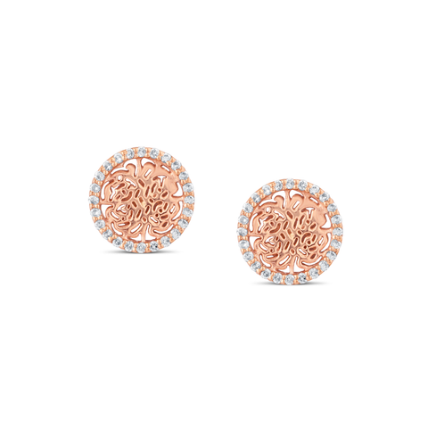 Signature Logo Earrings with Diamond frame in 18k Rose Gold