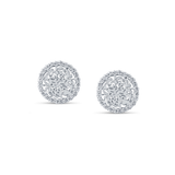 Signature Logo Earrings with Diamond frame in 18k White Gold
