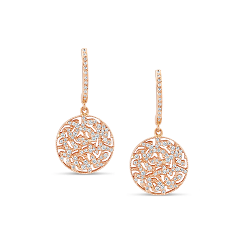 Signature Logo Diamond Earrings on a Huggies in 18k Rose Gold
