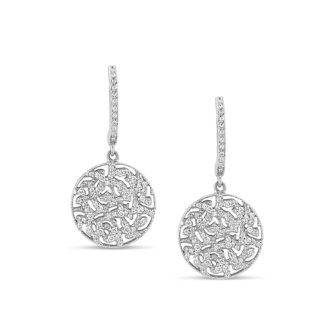 Signature Logo Diamond Earrings on a Huggies in 18k White Gold