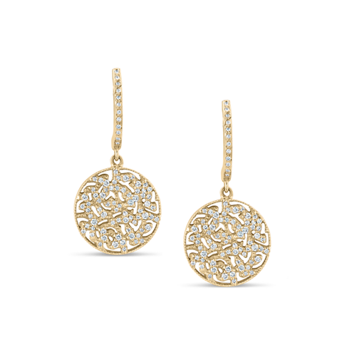 Signature Logo Diamond Earrings on a Huggies in 18k Yellow Gold