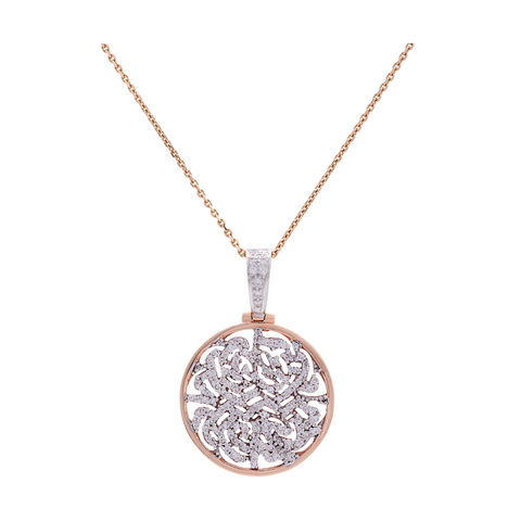 Siganture Diamond 20mm Logo Pendant in 18k Rose Gold