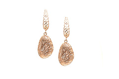 Lattice Dangling Briolette Earrings in 18k RG