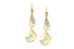 Lattice Dangling Spiral Earrings in 18k Yellow Gold