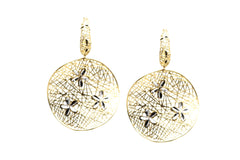 Lattice Dangling Earrings With Tiny Flowers In 18k Yellow Gold