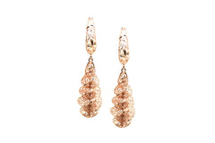 Lattice Dangling Spiral Earrings in 18k Rose Gold