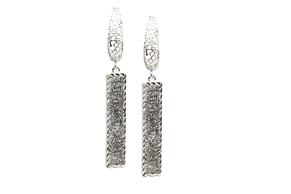 Lattice Dangling Earrings in 18k White Gold