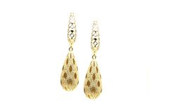 Lattice Dangling Briolette Earrings in 18k YG