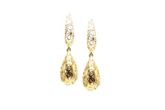 Lattice Cutout Briolette Earrings 18k Yello Gold