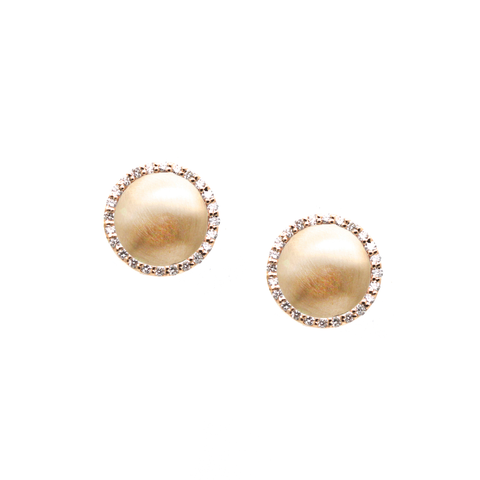 Lente Stud Earring in 18k Rose Gold With Pave Diamond