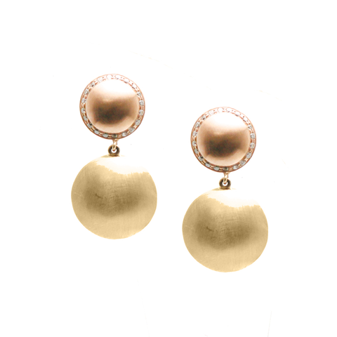Lente 2 Tier Earrings mix in Rose Gold and Yellow Gold with Diamond