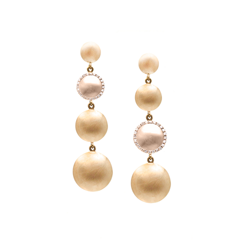 Lente 4 Tier Earrings in 18k Yellow Gold & Rose Gold with Diamond With Satin Finish