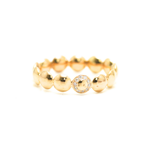 Lente Ring with Diamond Detail in 18k Yellow Gold