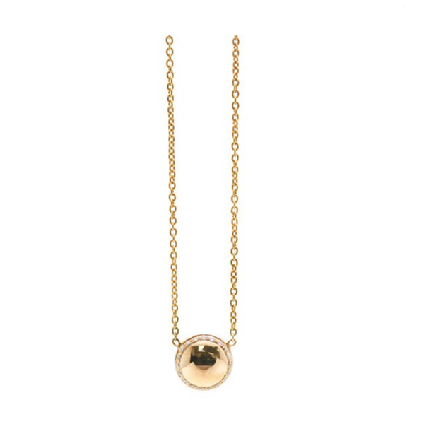 Lente Pendant with Diamond frame in 18K Yellow Gold