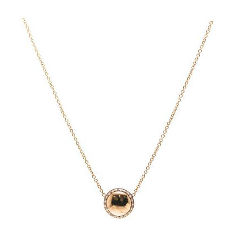 Lente Necklace in 18k  Rose Gold With Diamond Pave Frame
