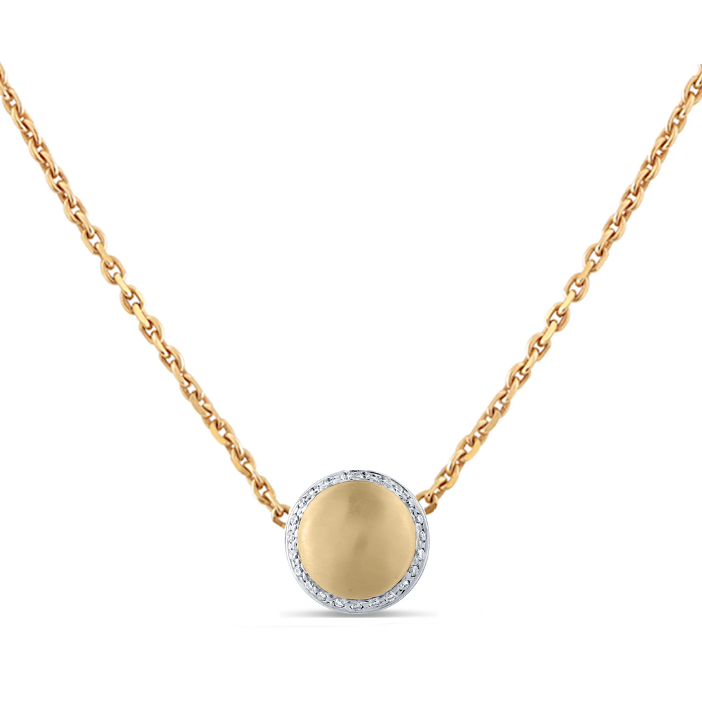 Lente Necklace With Diamond Pave in 18k Gold