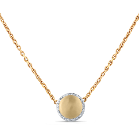 Lente Necklace in 18k  Yellow Gold With Diamond Pave