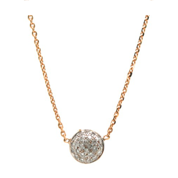 Double sided Pave Diamond Small Lente Necklace in 18k Rose Gold