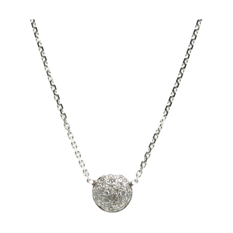 Double sided Pave Diamond Small Lente Necklace in 18k White Gold