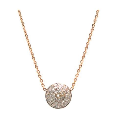Double sided Pave Diamond Medium Lente Necklace in 18k Rose Gold