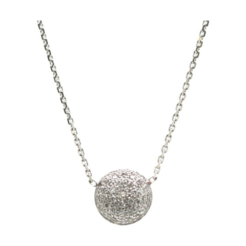 Double sided Pave Diamond Medium Lente Necklace in 18k White Gold
