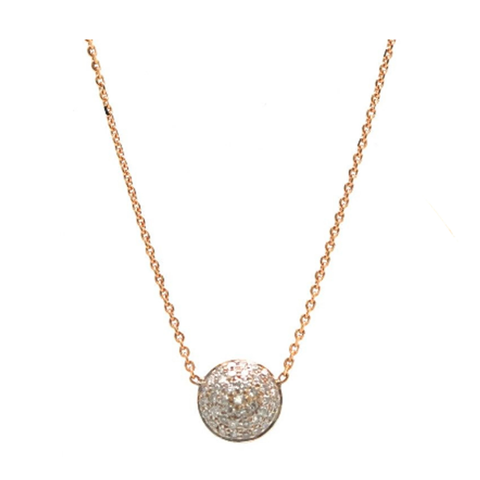 Pave Diamond Large Lente Necklace in 18k Yellow Gold