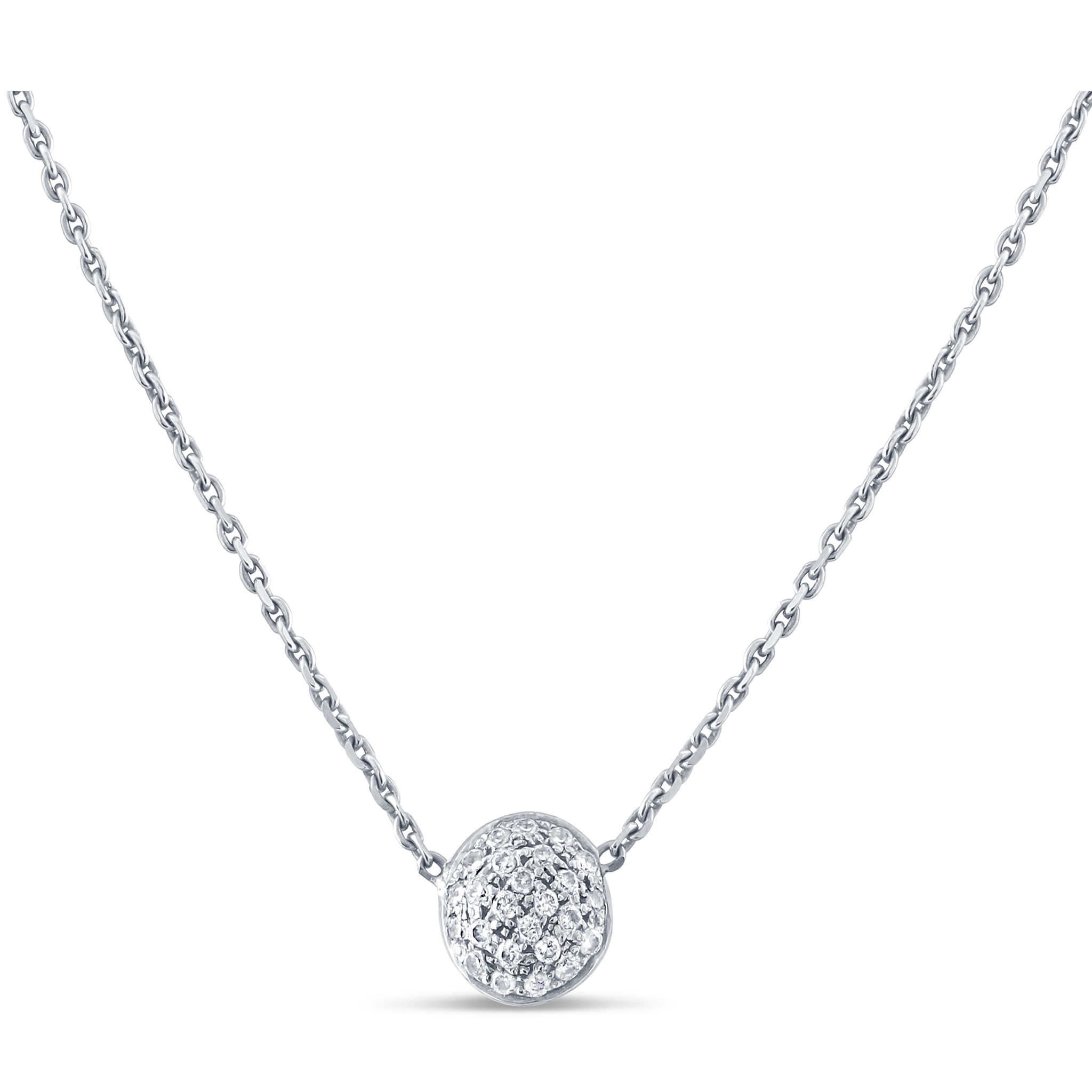 18K White Gold Lente Necklace With Diamond