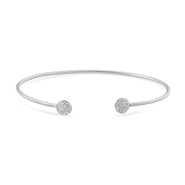 18K White Gold Lente Bangle With Diamond