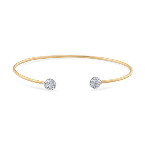 18K Yellow Gold Lente Bangle With Diamond