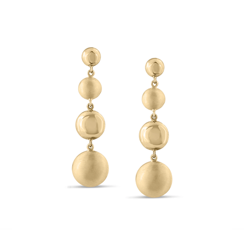 Lente 4 Tier Earrings in 18k with Satin and Shiny Finish
