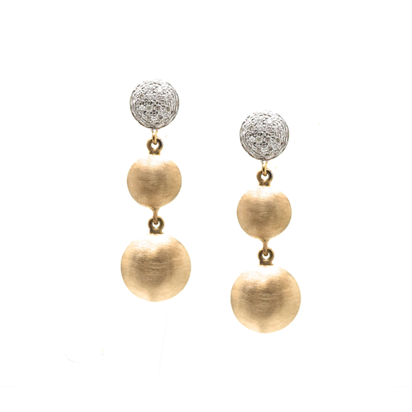Lente 3 Tier Earrings with Pave Diamond in 18k YG